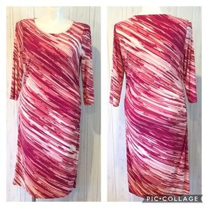 White House Black Market Passion Pink Ruched Dress